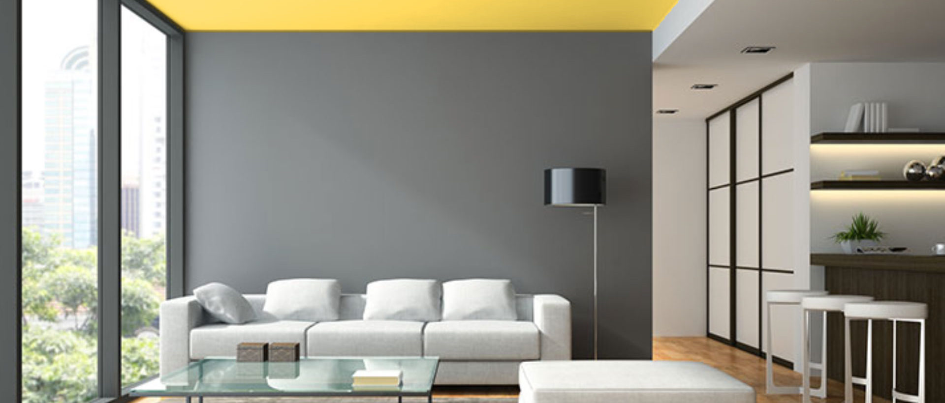 Painting a ceiling adds interest to a room. White is no longer the standard ceiling colour